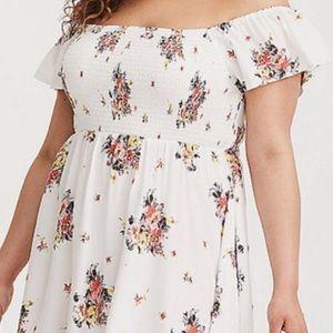 Torrid floral off the shoulder dress